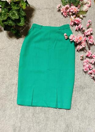Юбка миди яркого насыщенного зелёного цвета