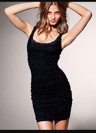 Чёрное кружевное платье-майка от victoria's secret . xs-s