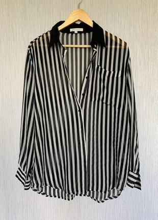Рубашка- оверсайз шифоновая в полоску