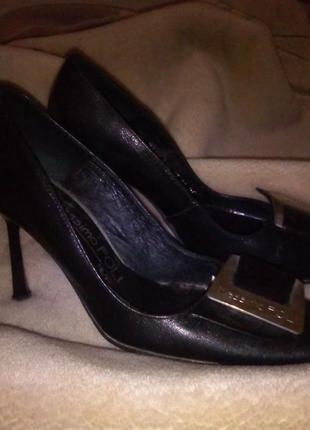 Лодочки кожаные 38 39 (25 см) черные италия милан massimo poli milano кожаные туфли