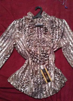 Женская красивая тигровая леопардовая блузка 42 р-р