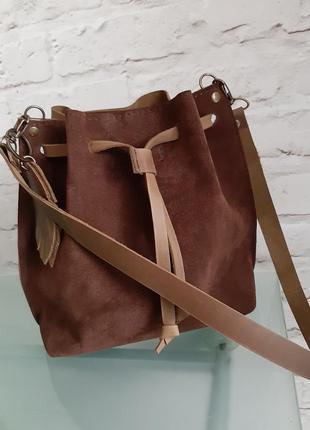 Кожаная замшевая сумочка