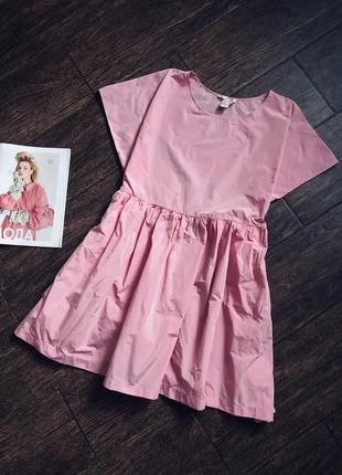 Очень красивое розовое летнее оверсайз платье