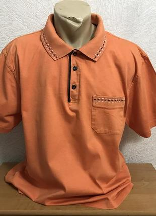 Оранжевая тенниска с карманом, поло в эксклюзивном дизайне roger kent