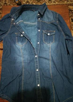 Шикарная джинсовая рубашка denim co