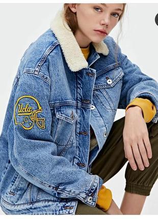 Шерпа курка курточка джинсова pull&bear