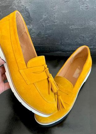 Натуральные туфли лоферы с кисточками👌 кожаные  c 36-40