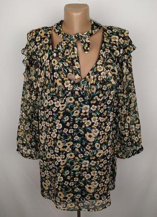 Блуза новая шикарная в цветы шифон рюши бант f&f uk 20/48/3xl