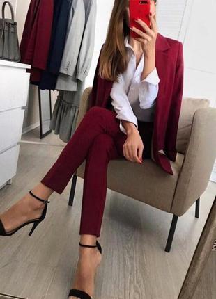 Шикарный костюм брюки +пиджак бордового цвета ❤️