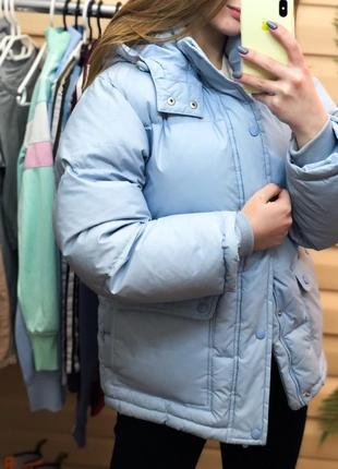 Куртка одеяло дутик голубой от h&m пуховик синтепон