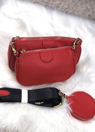 Красная мини сумка 3в1