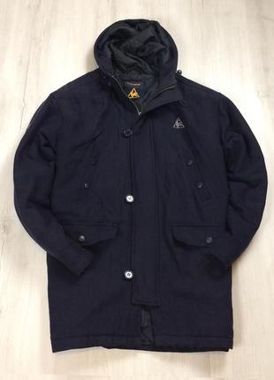 F9 пальто le coq sportif синее шерстяное шерсть овечья куртка ветровка