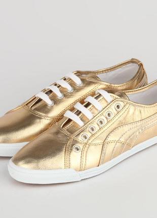 Новые кеды кроссовки puma crete metallic gold