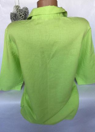 Яркая нежная рубашка лён 60%4 фото