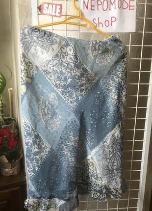 Голубая юбка с принтом женская миди длинная летняя лёгкая шифоновая