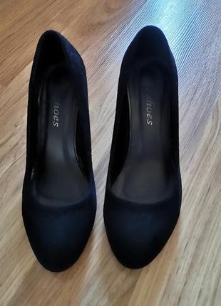 Туфли из натуральной замши на устойчиво каблуке, замшевые туфли, кожаные туфли