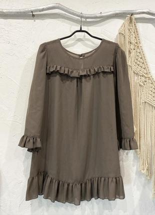Блуза кофейного цвета прозрачная с рюшами!