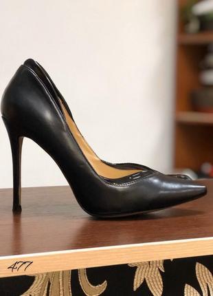 Туфли чёрные лодочки кожаные