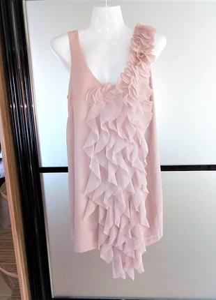 #розвантажуюсь бежевое короткое  платье прямого кроя с рюшей. пудровое мини платье xs-s
