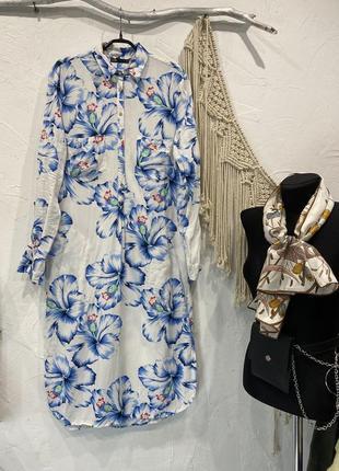 Удлинённая рубашка платье в крупный цветок oodji! плаття