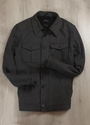F9 пальто next серое шерстяное шерсть овечья
