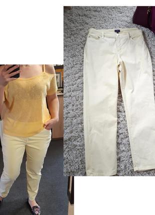 Актуальные светлые катоновые брюки  желтые,ankle,  p. 12-14
