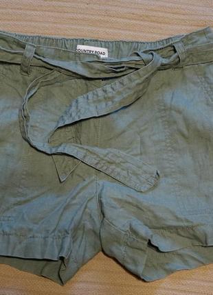 Короткие свободные льняные шорты оливкового цвета country road австралия s.