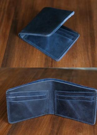 Кошелек портмоне на 6 карт из натуральной винтажной кожи синий
