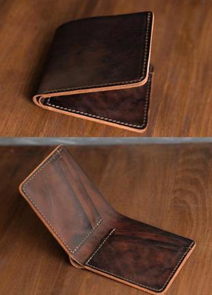 Кошелек портмоне на 6 карт из натуральной кожи итальянский краст вишневый