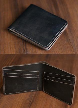 Кошелек портмоне на 6 карт из натуральной кожи итальянский краст кофейный