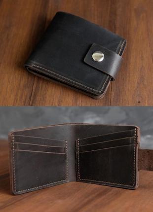 Кошелек портмоне на 6 карт с застежкой из натуральной винтажной кожи шоколадного цвета