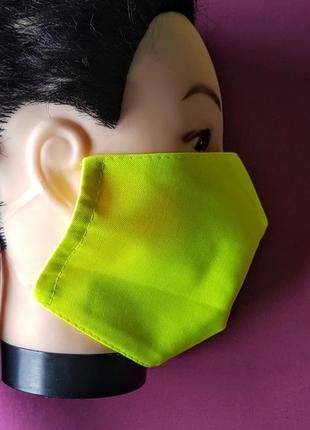 Классная маска плотная двойная кислотный салатовый цвет 57% коттон.