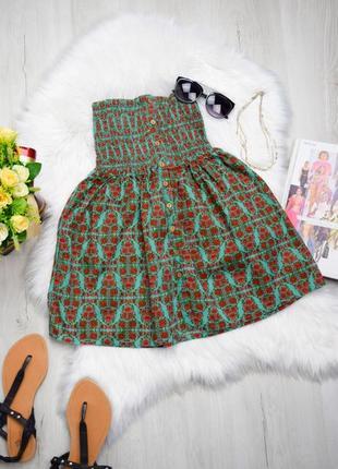 Цветочная легкая юбка мини солнце котон ситец квіткова спідниця
