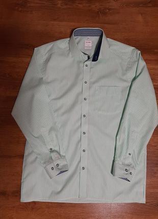 Рубашка в салатово-белую полоску