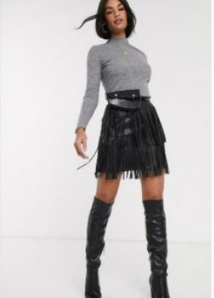 Прикольная замшевая юбка с бахромой, тренд сезона