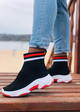 Кроссовки-носки balenciaga черные,красные,белые