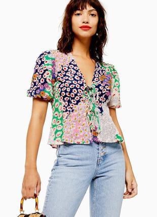 """Блуза шифоновая с объемными рукавами """"topshop"""""""