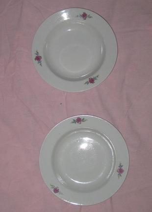 Новые 2 тарелки глубокие средние для горячих блюд, керамика ссср