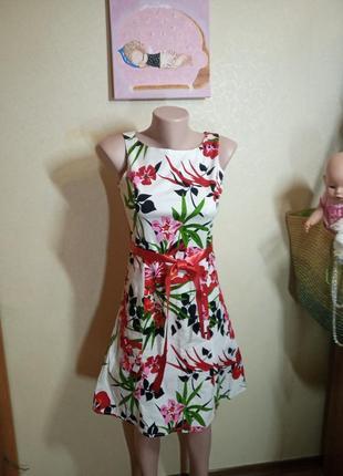 Летнее платье с цветочным принтом хлопок индия