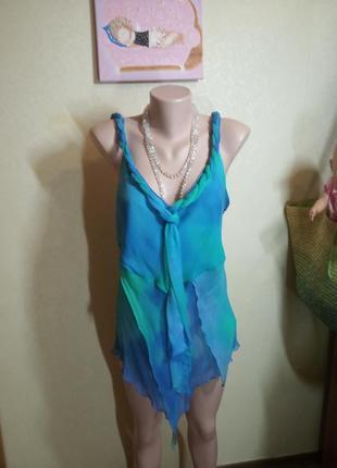 Блуза майка топ из натурального шелка цвета морской волны англия