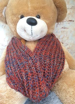 Снуд шарф теплый зимний вязаный крупная вязка трехцветный терракот синий серый