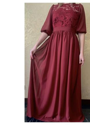 Вечернее выпускное платье в цвете марсала