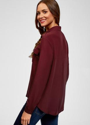 Легкая блуза-рубашка бордо