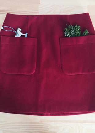 Теплая юбка-трапеция с карманами бордо