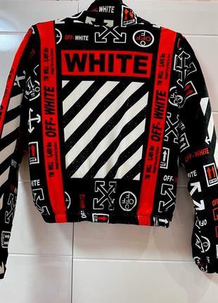 Велюровая красная куртка off white