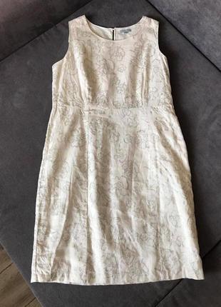 Maddison 100% лен сильное нежное платье серебристые цветы
