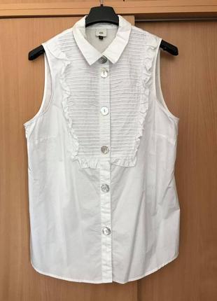 River island стильная хлопковая блузка перламутровые пуговицы
