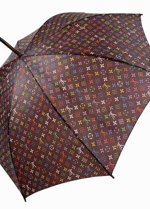 Женский зонт трость sl c деревянной ручкой и логотипами брендов, коричневый