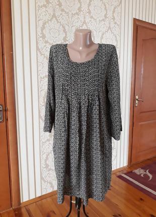 Натуральное вискозное платье туника в принт с карманами свободного кроя