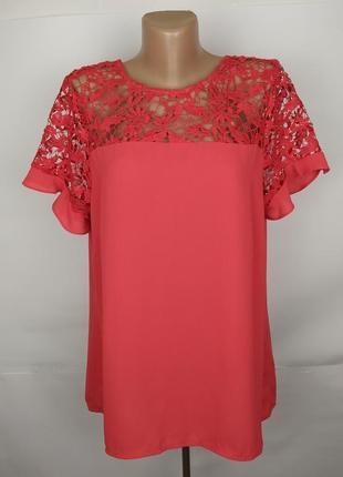 Блуза шикарная с кружевной кокеткой uk 16/44/xl #розвантажуюсь